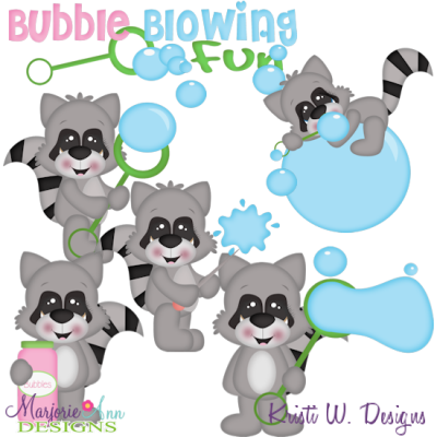Bubble Blowing Fun Racoons SVG Cutting Files Includes Clipart