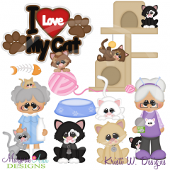 Crazy Cat Lady SVG Cutting Files Includes Clipart