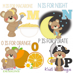 Patches The Bear Alphabet M-P SVG Cutting Files + Clipart
