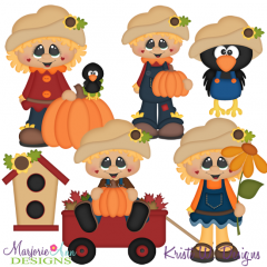 Happy Fall Scarecrows SVG Cutting Files + Clipart