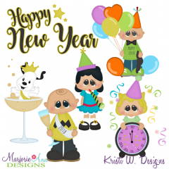 New Year With The Gang SVG Cutting Files Includes Clipart