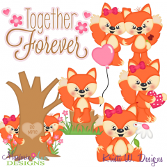 Foxy Valentine SVG Cutting Files Includes Clipart
