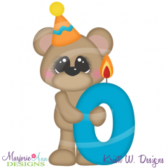 Party Animal 0 Birthday Candle Add-On Cutting Files+Clipart