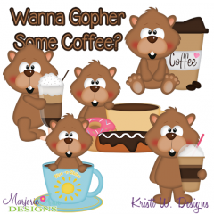 Wanna Gopher Coffee SVG Cutting Files + Clipart