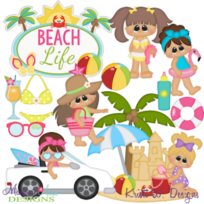 Day At The Beach~Girls SVG Cutting Files + Clipart