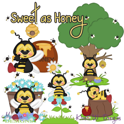 Bibi Loves Honey SVG Cutting Files + Clipart