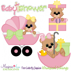 Baby Shower Bears-Girl SVG Cutting Files Includes Clipart