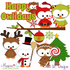 Happy Owlidays SVG Cutting Files Includes Clipart
