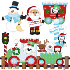North Pole Express SVG Cutting Files Includes Clipart