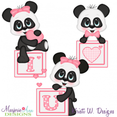 I Love You Panda's SVG Cutting Files + Clipart