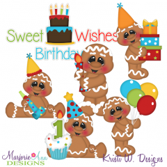 Sweet Birthday Wishes Exclusive SVG Cutting Files + Clipart