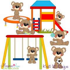 Playing Outside Bears SVG Cutting Files + Clipart