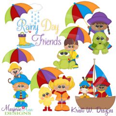 Rainy Day Friends Cutting Files-Includes Clipart