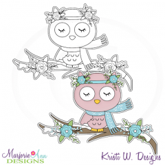 Woodland Winter~Owl Digital Stamp + Clipart