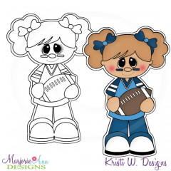 Little Football Fan-Girl Digital Stamp + Clipart