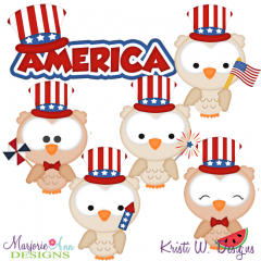 Patriotic Owls SVG Cutting Files + Clipart
