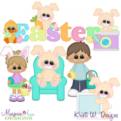 Pictures With The Easter Bunny SVG Cutting Files + Clipart