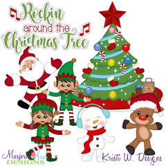 Rocking Around The Christmas Tree SVG Cutting Files + Clipart