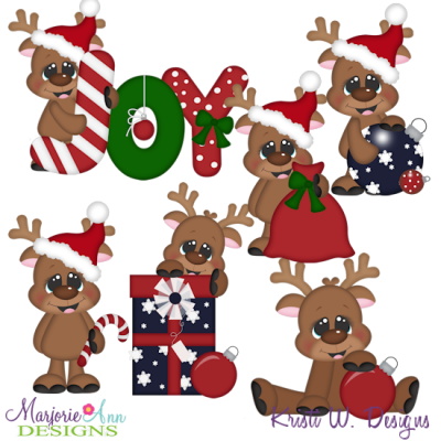 Christmas Joy Reindeer SVG Cutting Files + Clipart