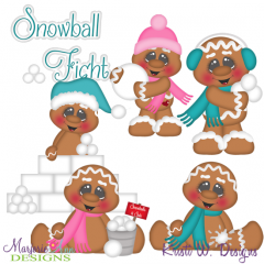 Snowball Fight Gingers SVG Cutting Files Includes Clipart