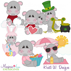 Calendar Hippos-Set 1-Jan-June SVG Cutting Files + Clipart