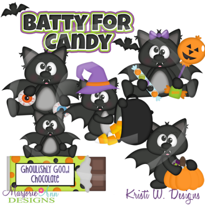 Batty For Candy SVG Cutting Files Includes Clipart