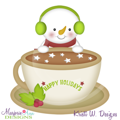 Cocoa Cutie Snowman SVG Cutting Files Includes Clipart