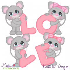 Love Mice SVG Cutting Files + Clipart