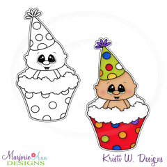 Baby In Cupcake Digital Stamp + Clipart