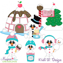 Winter Ice Cream Shop SVG Cutting Files + Clipart