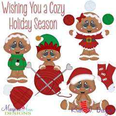 Wishing You A Cozy Holiday Season SVG Cutting Files+Clipart