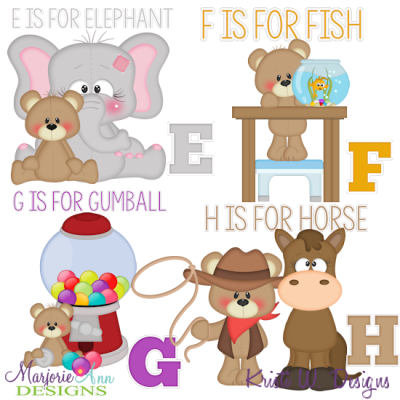Patches The Bear Alphabet E-H SVG Cutting Files + Clipart