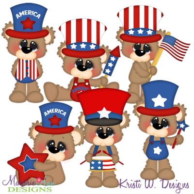 Bubbles The Bear Loves America SVG Cutting Files + Clipart