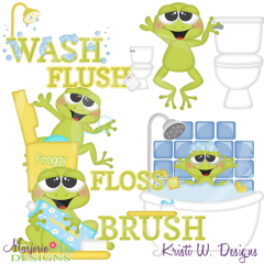 Bathroom Frogs SVG Cutting Files Includes Clipart