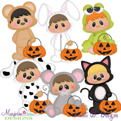 Trick Or Treat Tots~Animals SVG Cutting Files Includes Clipart