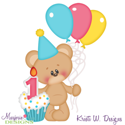 1st Birthday Bear SVG Cutting Files Includes Clipart