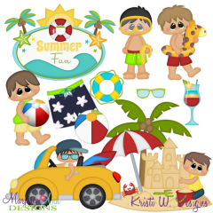 Day At The Beach~Boys SVG Cutting Files + Clipart