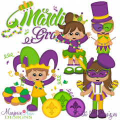 Happy Mardi Gras SVG Cutting Files Includes Clipart