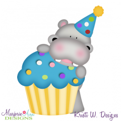 Birthday Hippo SVG Cutting Files + Clipart