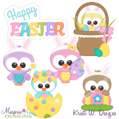 Easter Friends-Owls Cutting Files-Includes Clipart