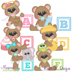 Baby Alphabet Bears A- F SVG Cutting Files Includes Clipart