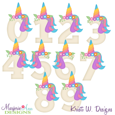 Unicorn Birthday Numbers EXCLUSIVE SVG Cutting Files + Clipart