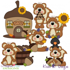 Nuts About Fall SVG Cutting Files Includes Clipart