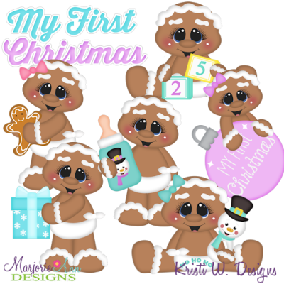 Baby's 1st Christmas~Gingers SVG Cutting Files + Clipart