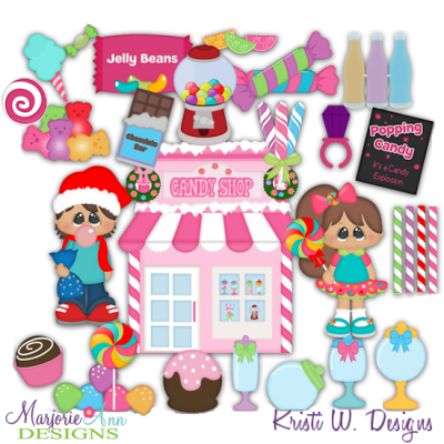 Winter Village~Candy Store SVG Cutting Files + Clipart