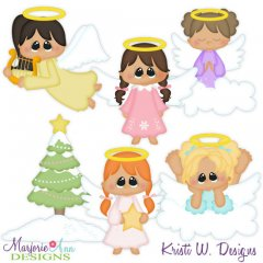 Winter Angels SVG Cutting Files + Clipart