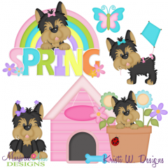 Spring Yorkies SVG Cutting Files Includes Clipart