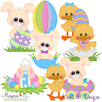 Benny & Daffodil Easter SVG Cutting Files + Clipart