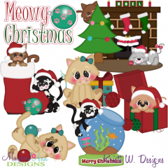 Meowy Christmas SVG Cutting Files Includes Clipart