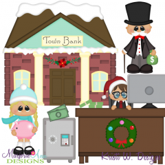 Winter Village~Town Bank SVG Cutting Files + Clipart